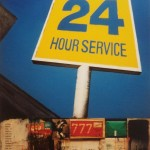 24 Hour Service, 1999, enamel and collage on board, 1,2x0,9m