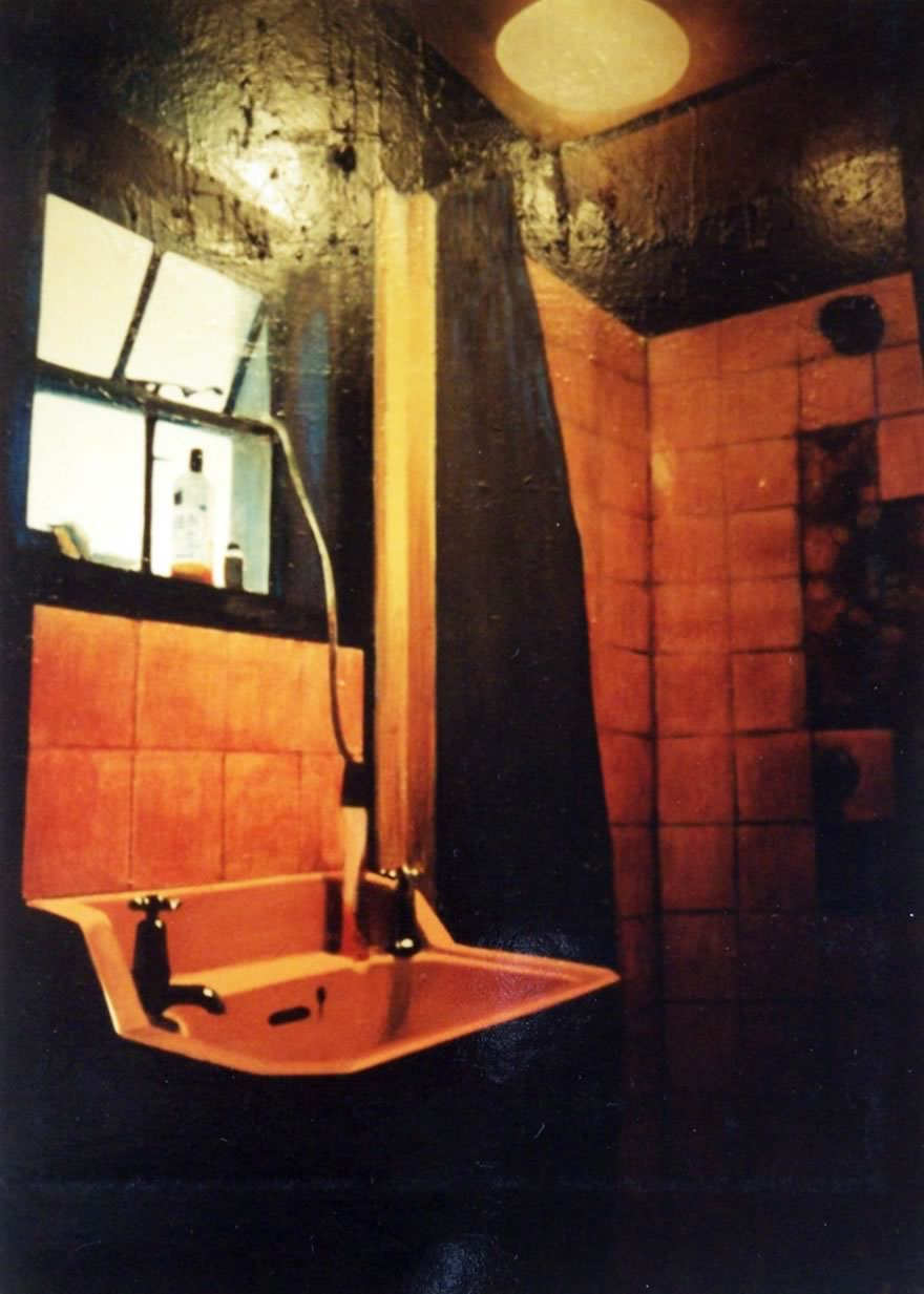 Basin with Window and Shower Fitting, 1995, enamel on board, 1,2x0,9m