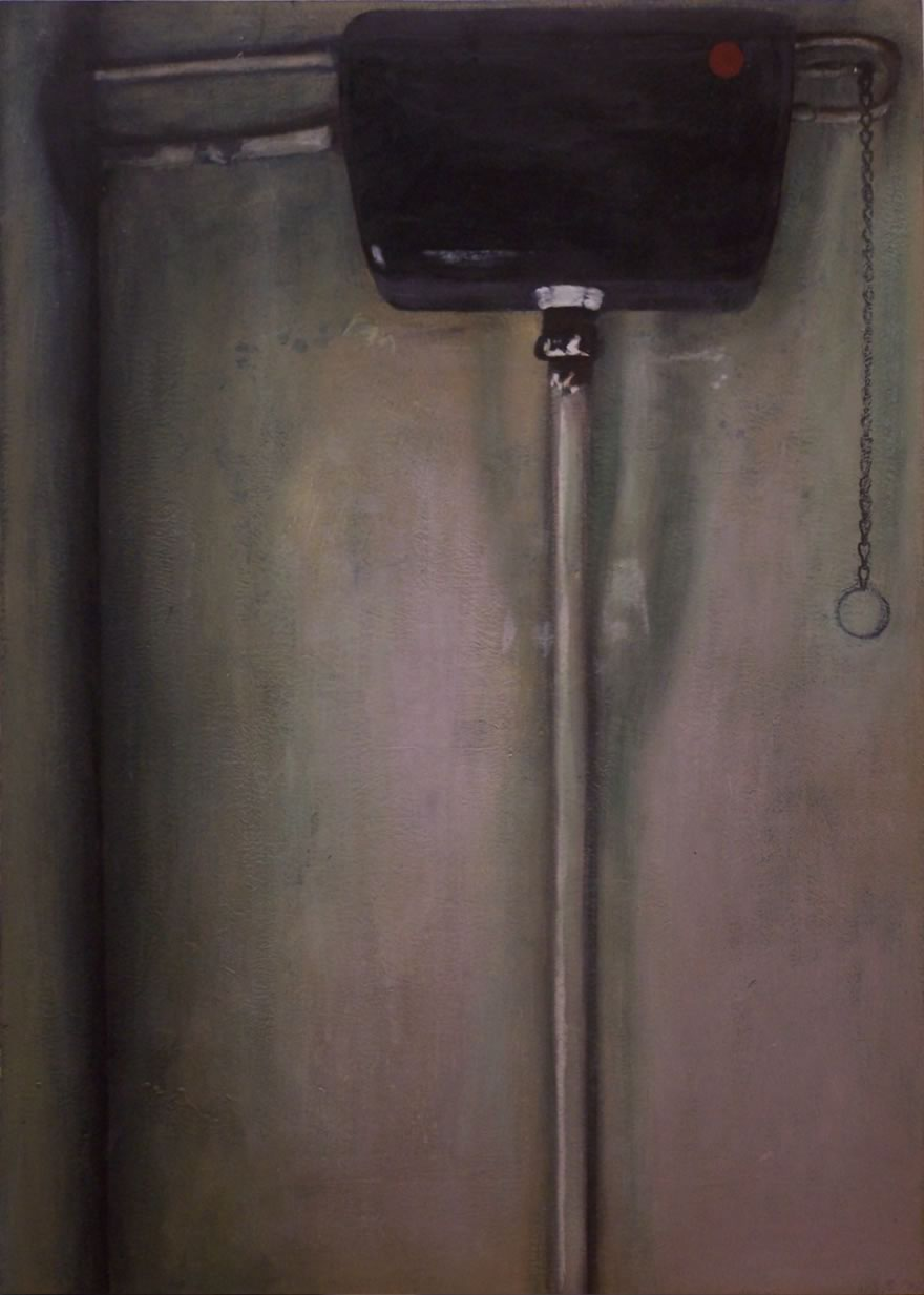 Blank Wall with Cistern and Pipe, 1995, enamel on board, 1,2x0,85m