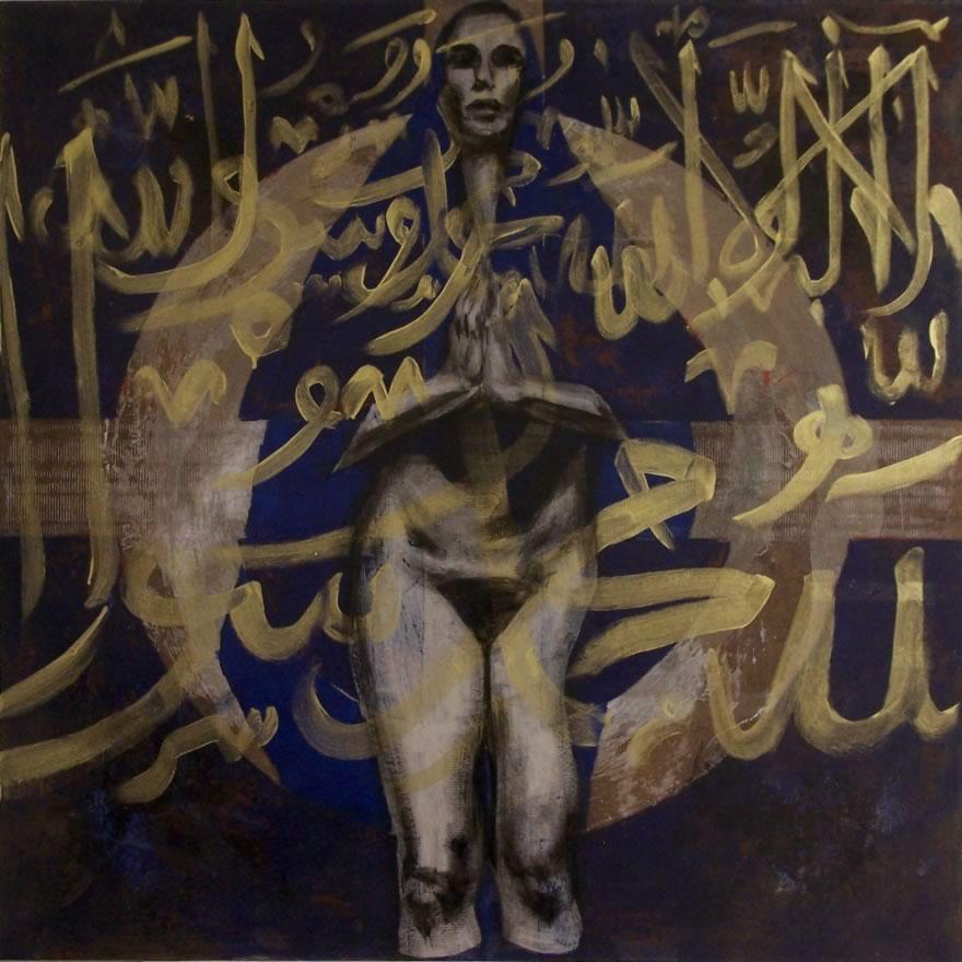 Blue Prayer, 2008, mixed media on board, 1,2x1,2m