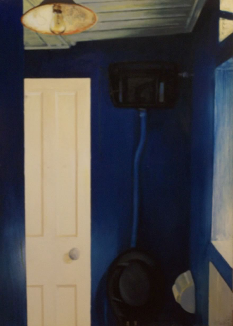 Blue Room with Light Bulb and Door Ajar, 1995, enamel on board, 1,2x0,9m