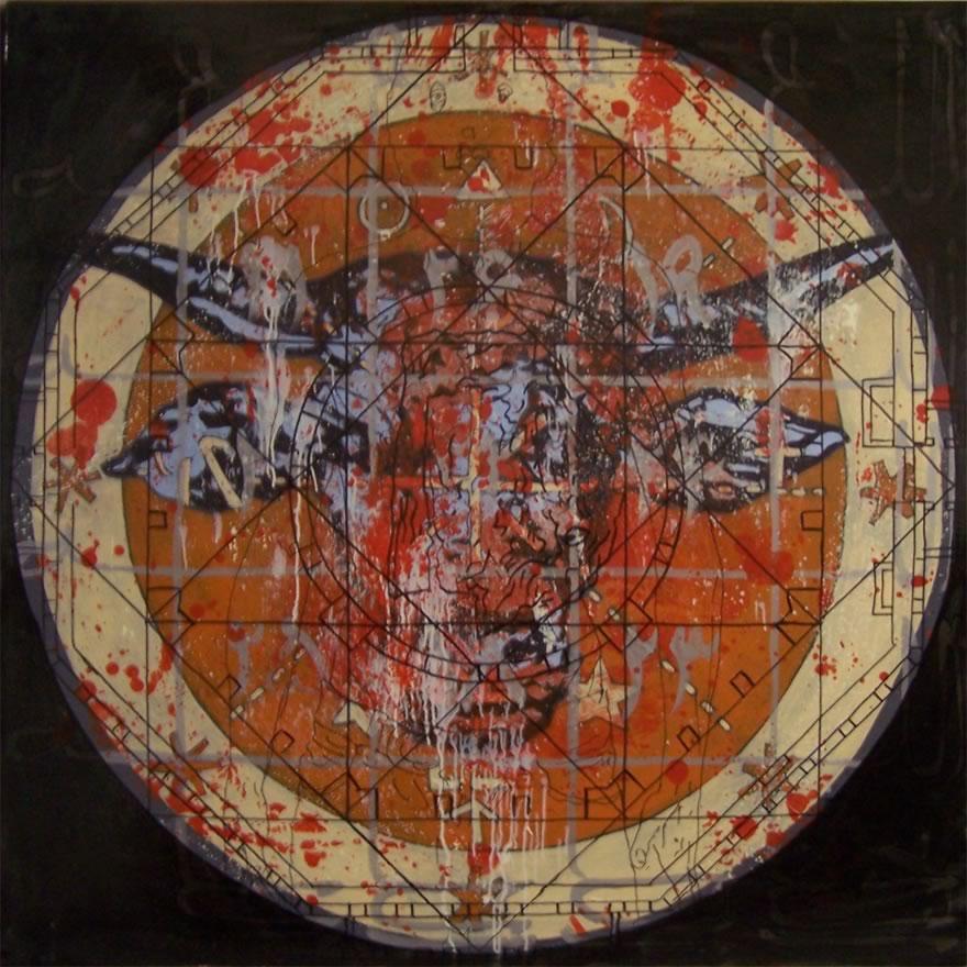 Bull, 2010, mixed media on board, 1,2x1,2m