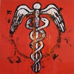 Caduceus, 2008, enamel on board, 1,2x1,2m