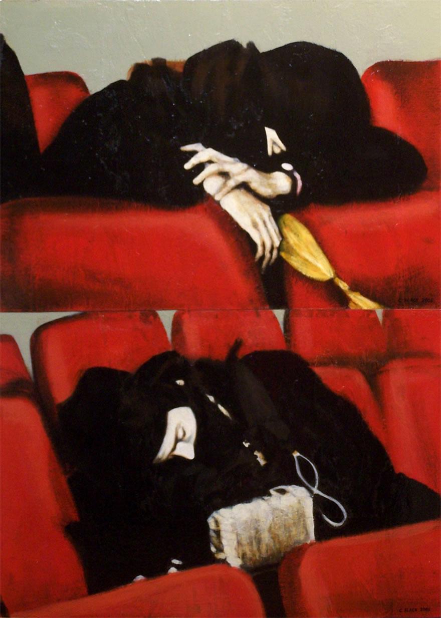Chechen Rebels Moscow theatre, 2005, Enamel On Board, 1,2x0,9m