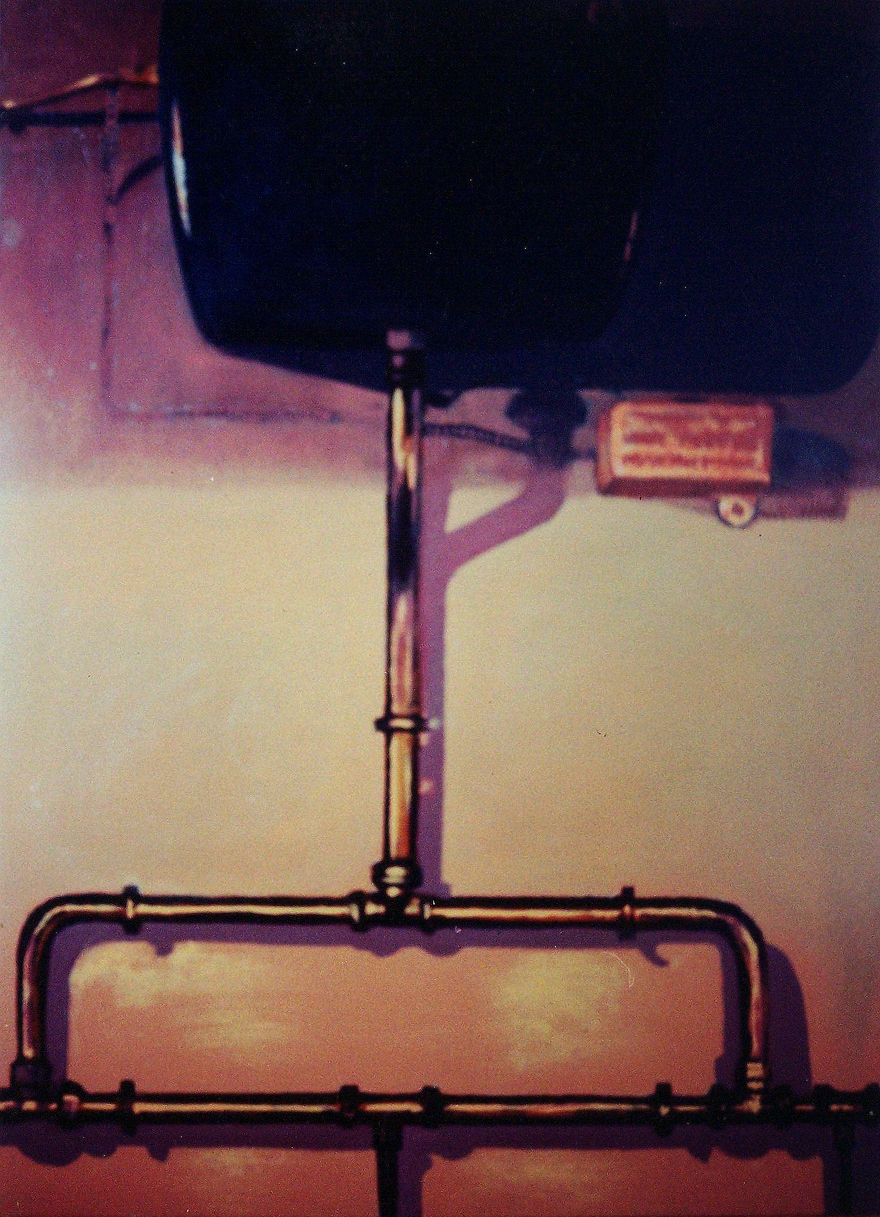 Cistern with Copper Pipes,  1995, enamel on board, 1,2x0,9m