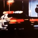 Cop Car Speeding Past, 2010, Enamel On Board, 40x60cm