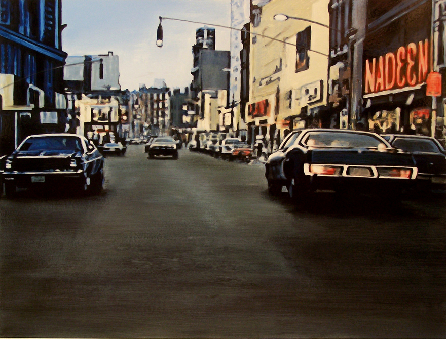 Downtown, 2008, enamel on board, 0,9x1,2m