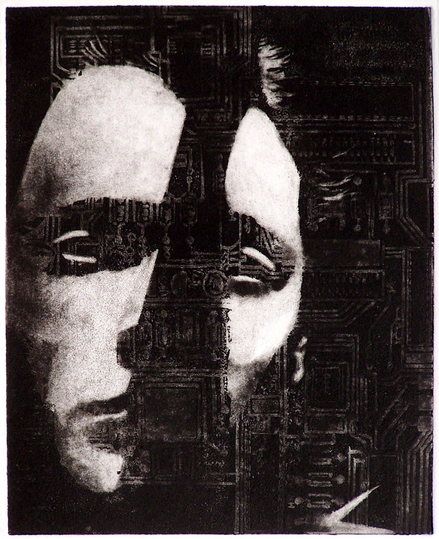 Face With Circuit Etching 21x17cm 1992