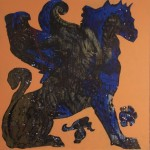 Griffon, 2009, mixed media on board, 1,2x1,2m