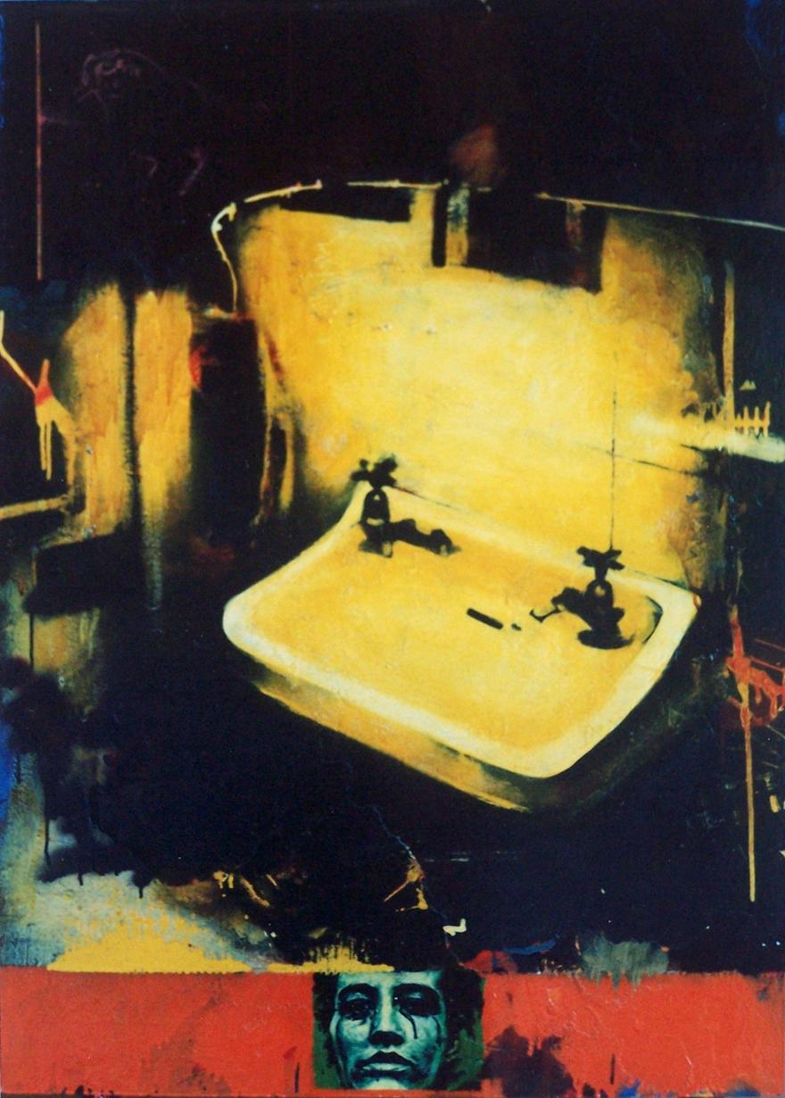 Holy Stigmata, 1997, mixed media on board, 1,2x0,83m