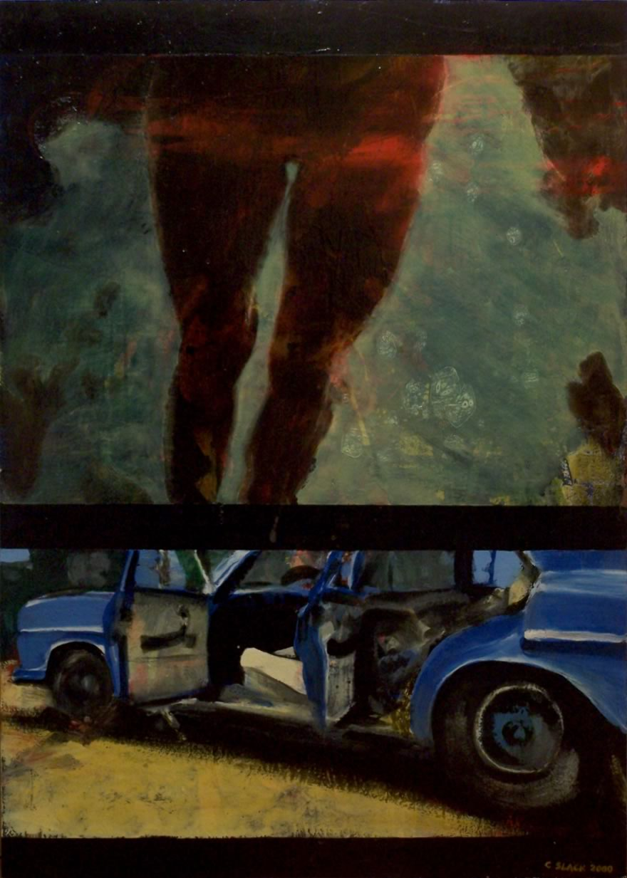 Incident, 2000, oil and enamel on board, 1,2x0,9m