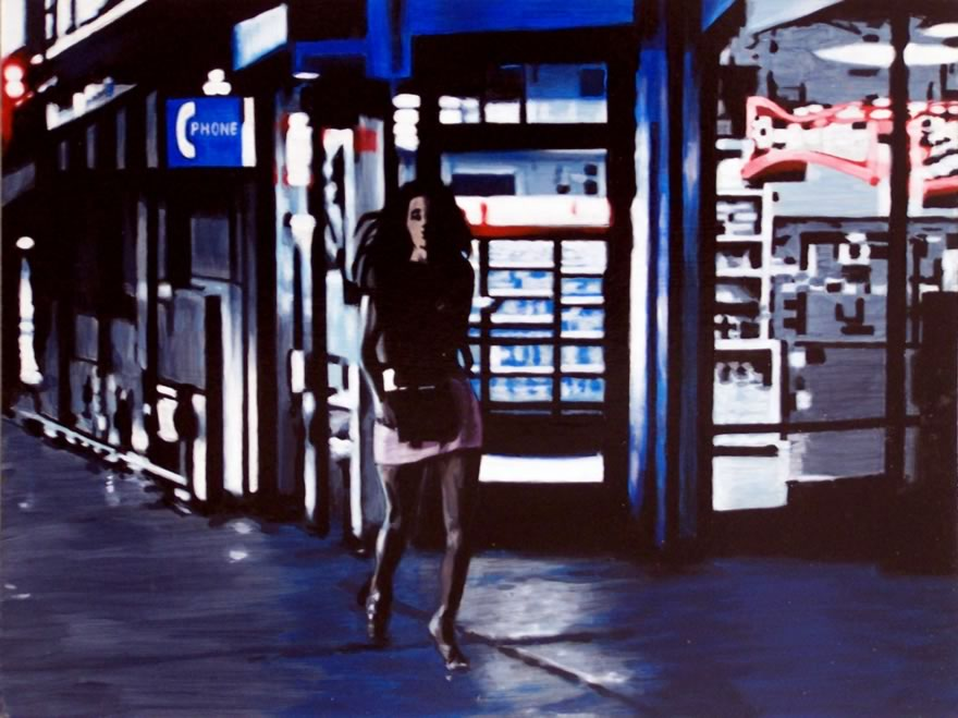 Late Night Shopping, 2012, Enamel On Board, 45x60cm