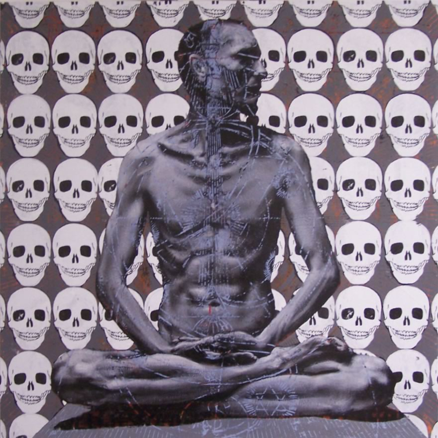 Lotus Position #2 (Skulls), 2010, enamel on board, 1,2x1,2m