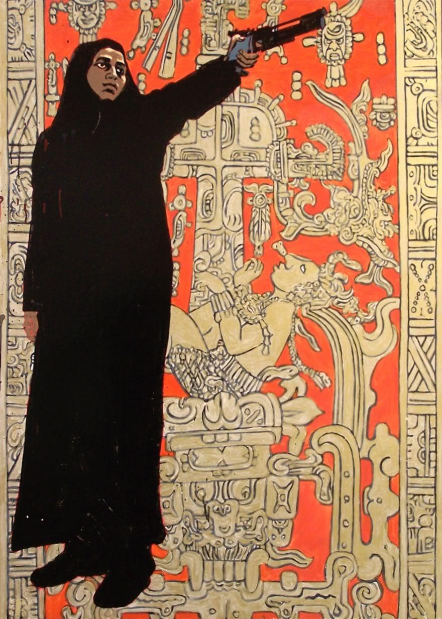 Mayan Muslim, 2008, mixed media on board, 1,2x0,9m