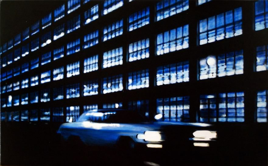 Parking Garage At Night1 , 2012, Enamel On Board, 40x60cm