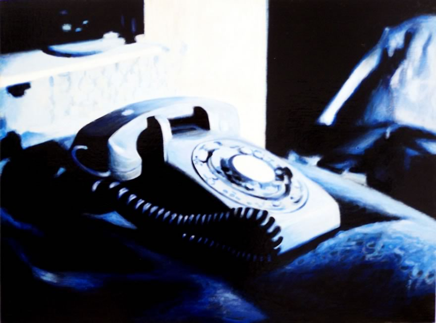 Phone On Bed, 2012, Enamel On Board, 45x60cm