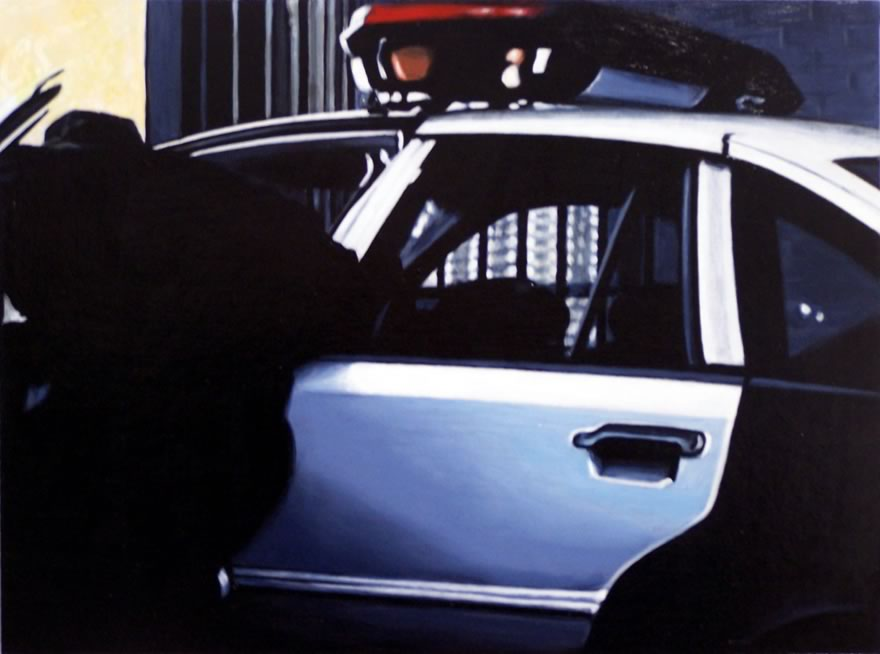 Police Car, 2012, Enamel On Board, 45x60cm
