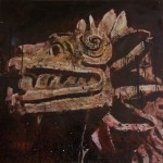 Quetzalcoatl, 2009, mixed media on board, 1,2x1,2m