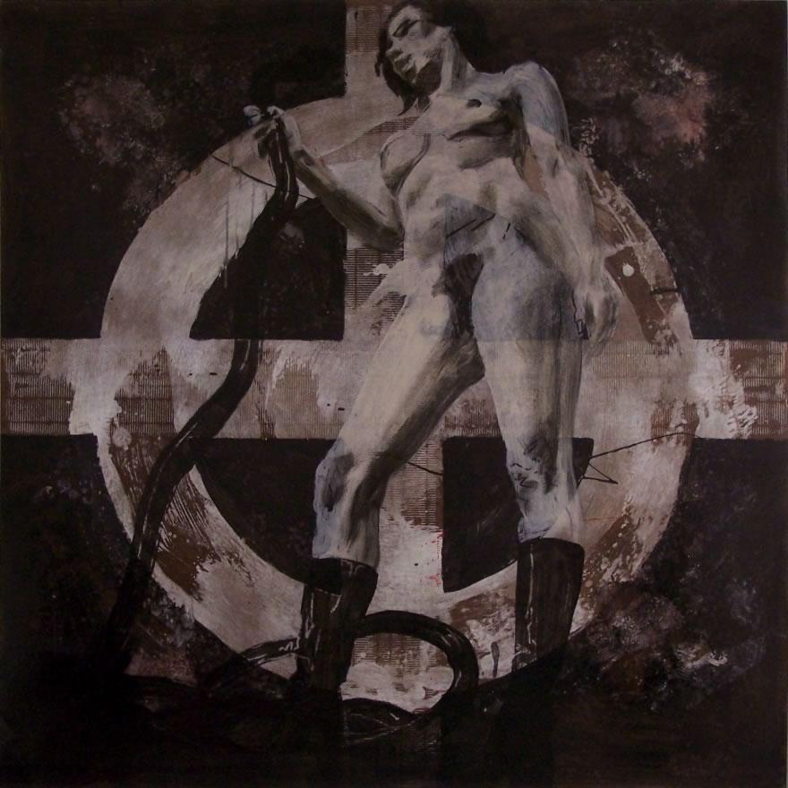 Serpent, 2009, mixed media on board, 1,2x1,2m