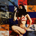 Shamila in Afghanistan(Helicopter Gunship),2005, enamel and silkscreen on canvas, 1,8x0,9m