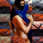 Shamila in Afghanistan(Tank),2005, enamel and silkscreen on canvas, 1,8x0,9m