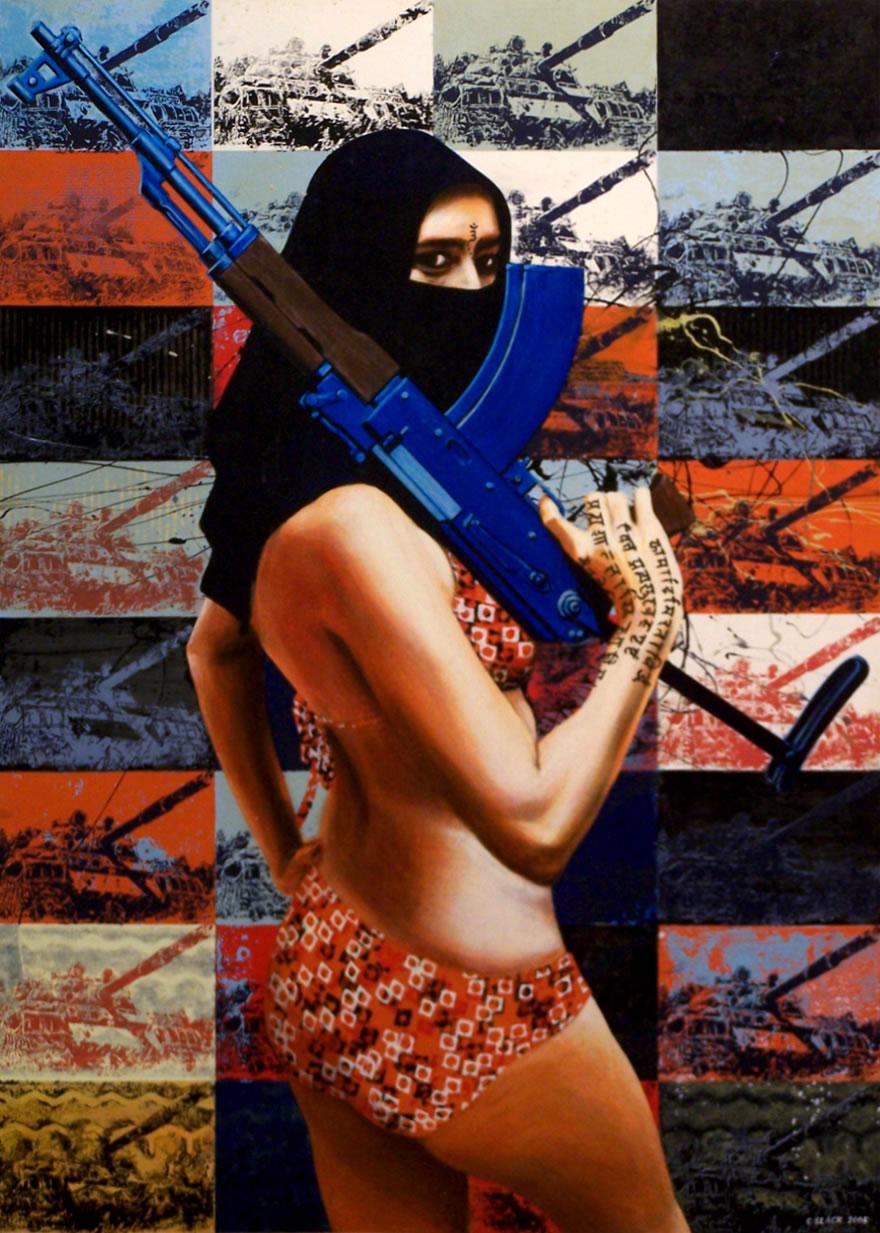Shamila in Afghanistan(Tank),2005,  enamel and silkscreen on canvas, 1,8x0,9m