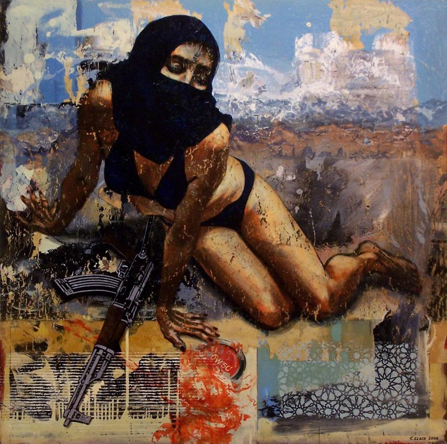 Shamila's Lament, 2005, mixed media, 1,2x1,2m