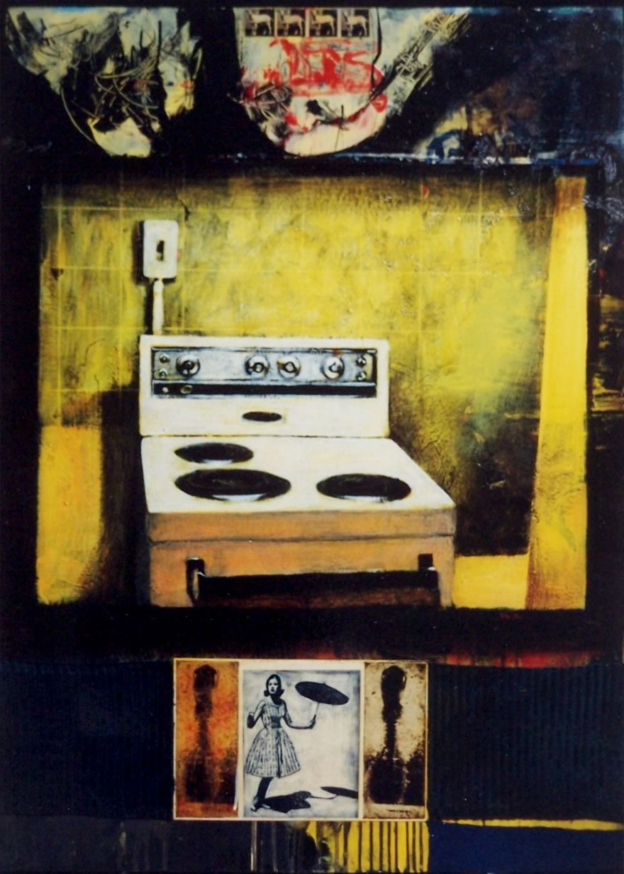 Stove, 1999, enamel and collage on board, 1,2x0,9m