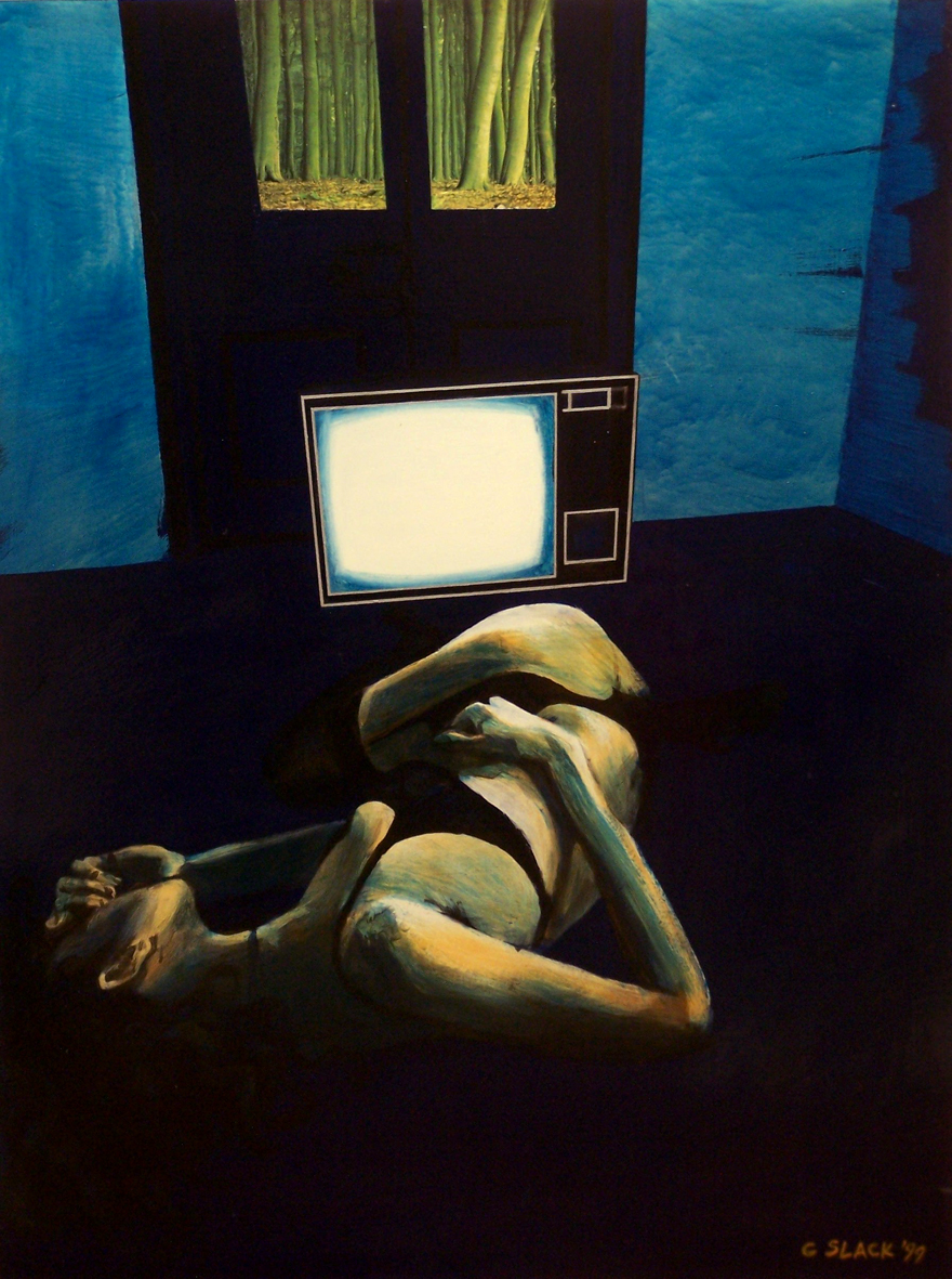 TV Fantasy, 1999, oil and enamel on board, 1,2x0,9m
