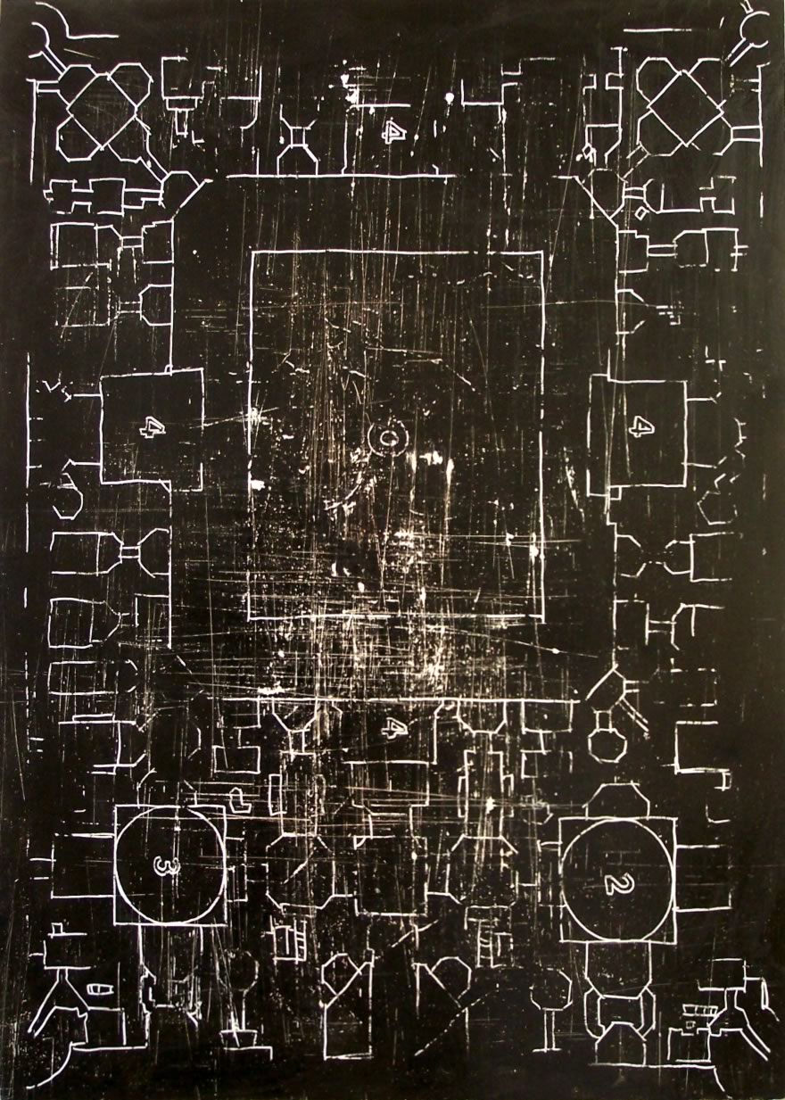 Temple Plan no.1, 2008, enamel on board, 1,2x0,9m