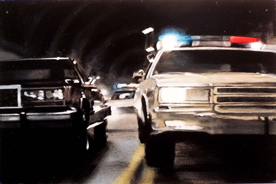 Tunnel Chase 1, 2010, Enamel On Board, 40x60cm