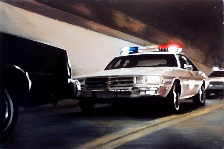 Tunnel Chase 2, 2010, Enamel On Board, 40x60cm