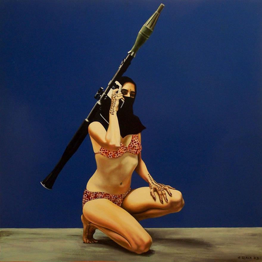 Virgins in Paradise no.3, 2003, enamel on board, 1,2x1,2m(cropped)