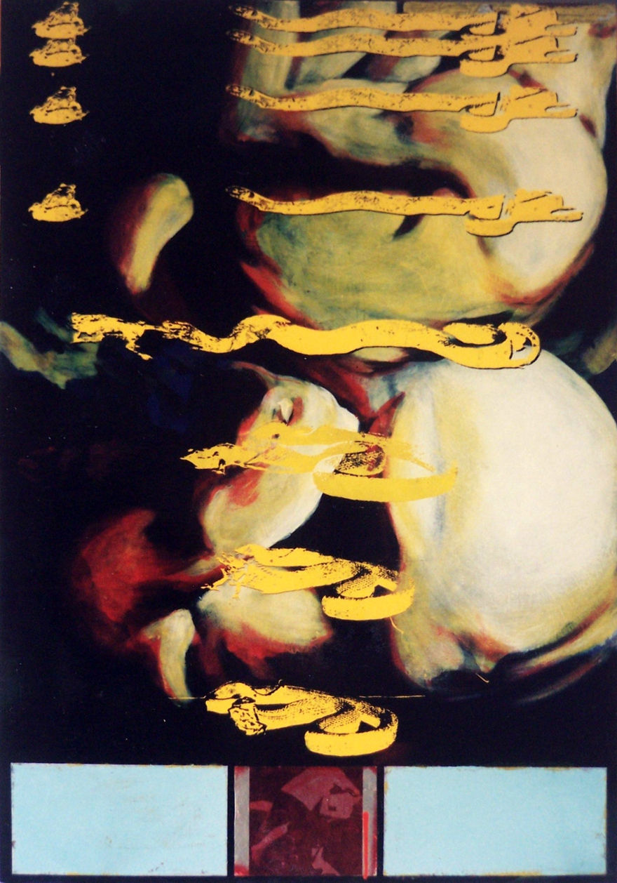 Yellow Figures, 1996, enamel on board, 1,2x0,9m