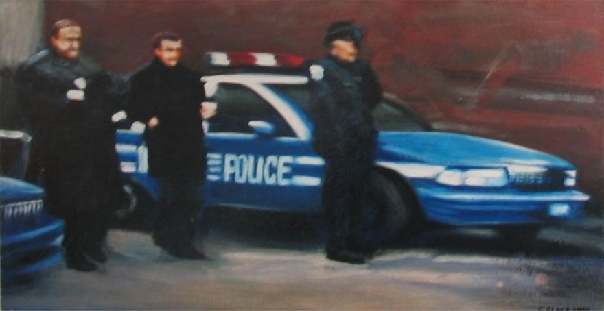 Crime Scene 2, 2005, enamel on board, 0,3x0,6m