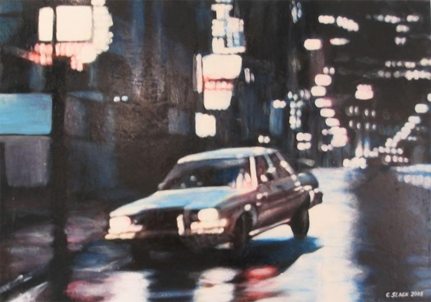 In The Gutter, 2005, enamel on board, 0,45x0,6m