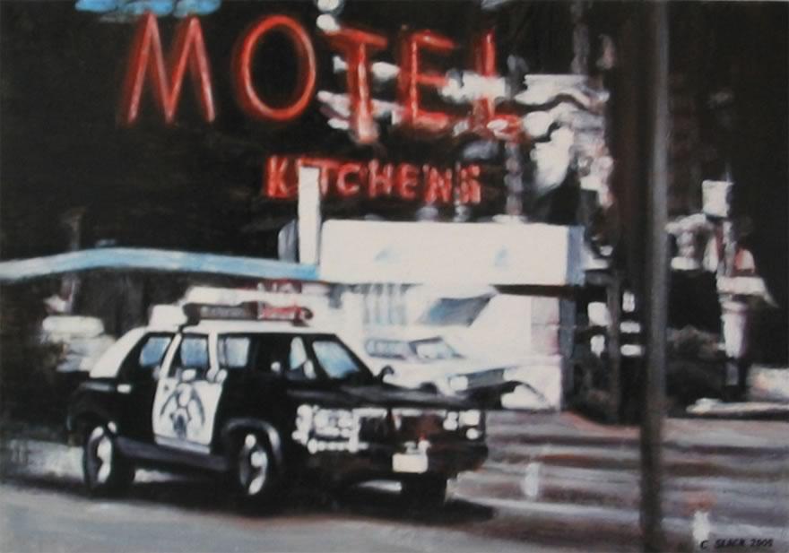 Motel Sign, 2005, enamel on board, 0,45x0,6m