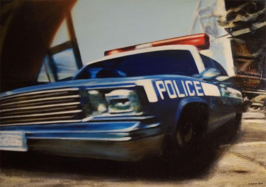 Police , 2005, enamel on board, 0,9x1,2m