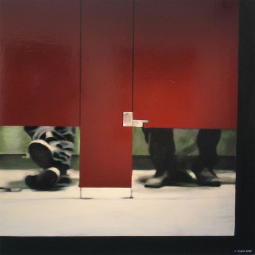 Shooting up in Cubicle, 2005, enamel on board, 1,2x1,2m