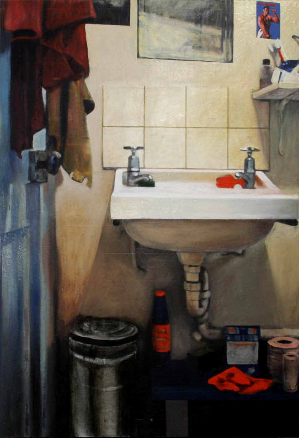 Basin With Towel no2, 1995, enamel on board, 1,2x0,85m