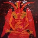 Lotus Position#6(Devil), 2010, enamel on board, 1,2x1,2m