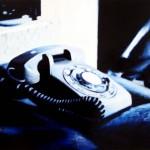 Phone On Bed, 2012, Enamel On Board, 45x60cm